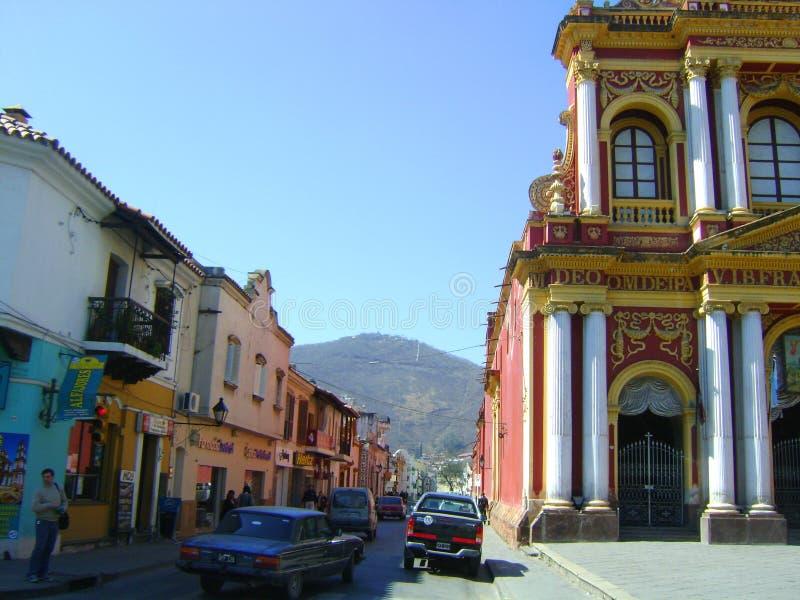 Vieux bâtiments coloniaux de Salta Argentine image libre de droits