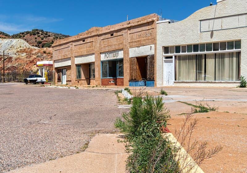Vieux bâtiments commerciaux, Lowell, Arizona photographie stock