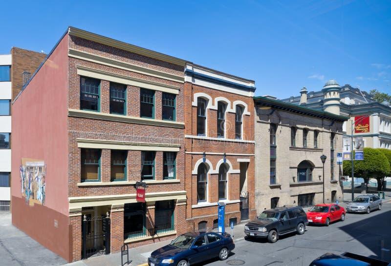 Vieux bâtiments commerciaux, Victoria, AVANT JÉSUS CHRIST, Canada photographie stock