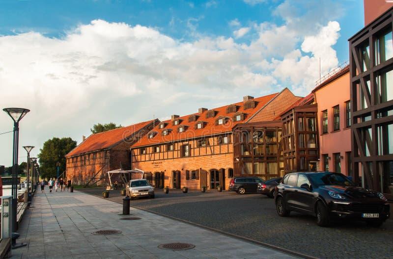 Vieux bâtiments de port Klaipeda photo stock