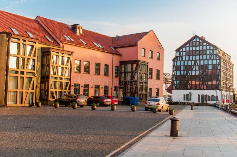 Vieux bâtiments de port Klaipeda images libres de droits