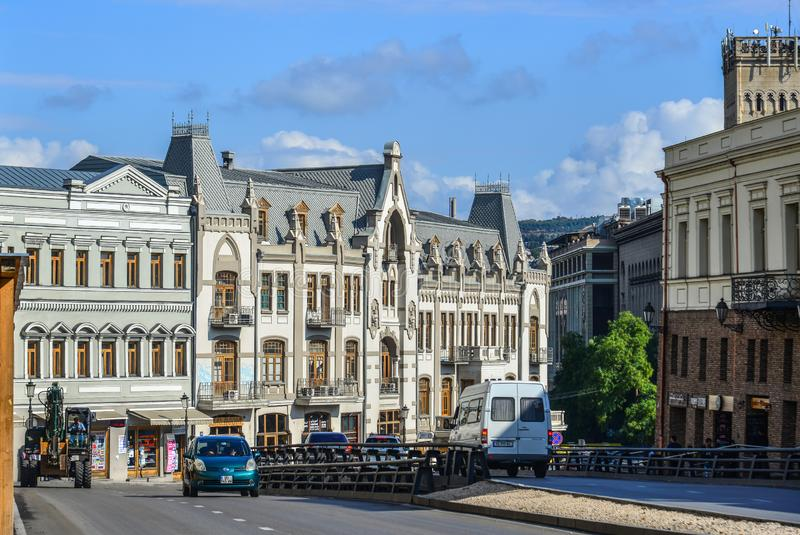 Vieux bâtiments de Tbilisi, la Géorgie photos stock