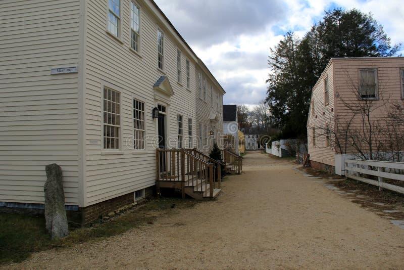 Vieux bâtiments historiques dépeignant quelle vie avait lieu comme en quelques des jours écoulés, fraise Banke, Portsmouth, New H image libre de droits