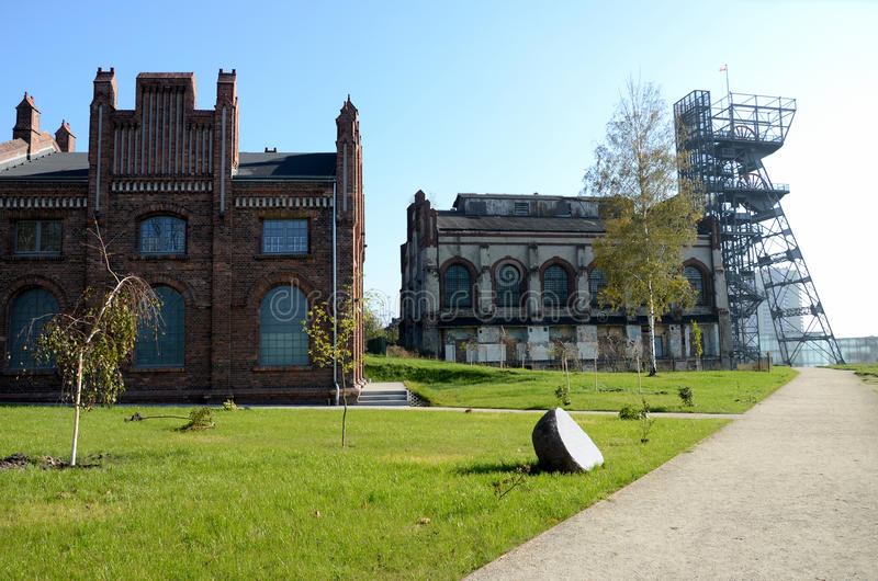 Vieux bâtiments industriels (musée silésien Katowice, en Pologne) photo stock