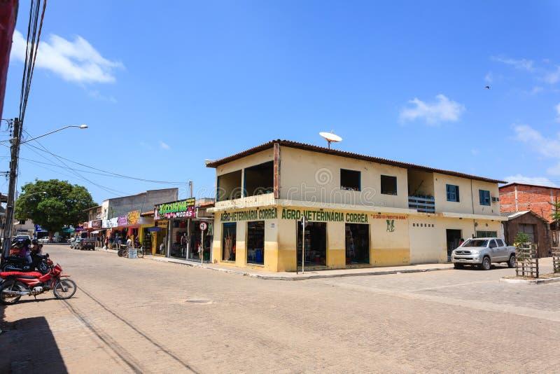 Vieux bâtiments le long de route, Manaus, Brésil photographie stock