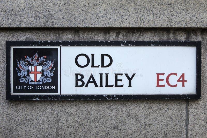 Vieux Bailey Street Sign à Londres photos stock