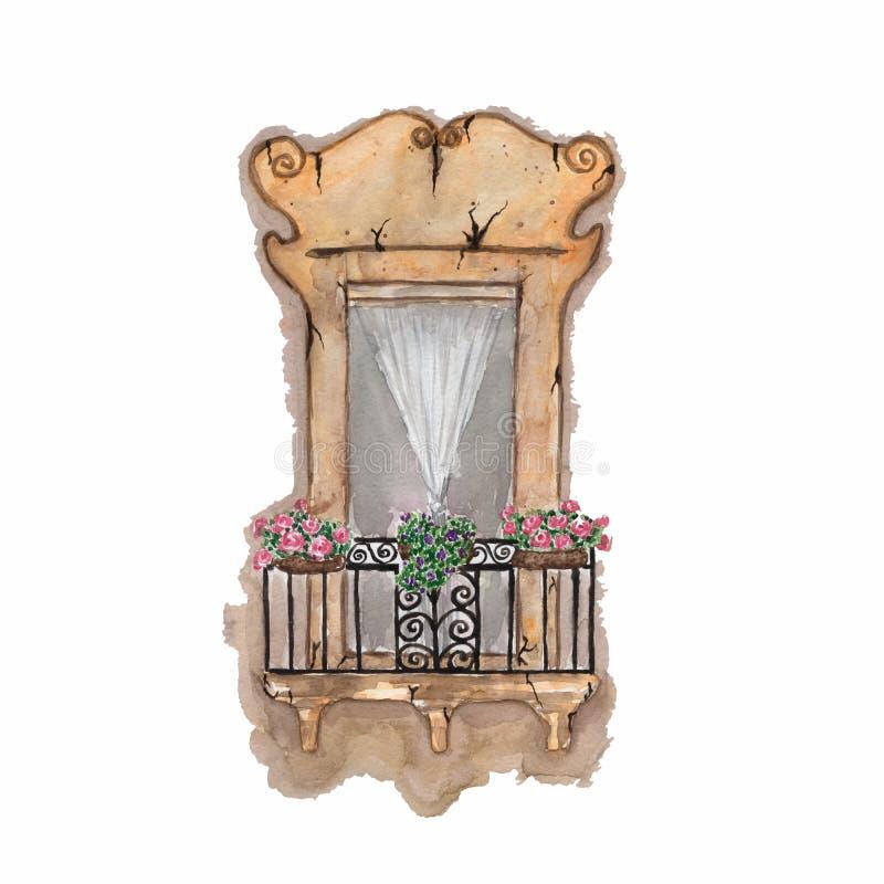 Vieux balcon, fleurs, aquarelle Illustration tirée par la main d'aquarelle postcard Illustration de vieille rétro fenêtre d'été a illustration de vecteur