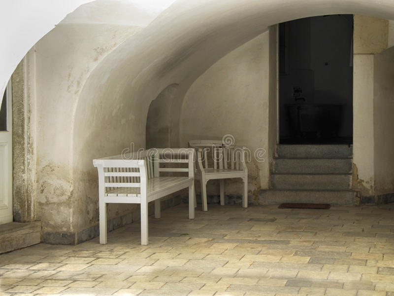 Vieux banc en bois et Seat image libre de droits