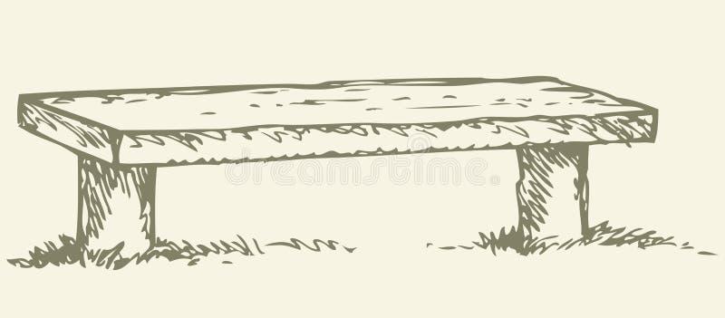 Vieux banc en bois Retrait de vecteur illustration de vecteur