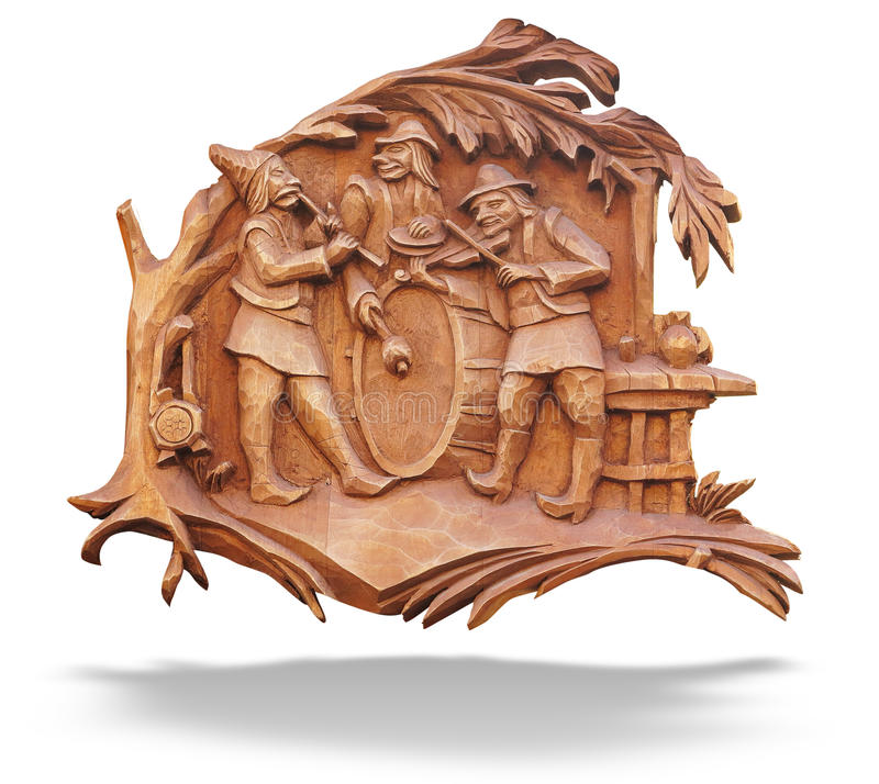 Vieux basse-soulagement en bois brun avec des musiciens au-dessus de blanc illustration stock