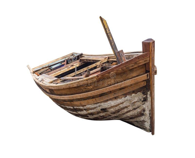 Vieux bateau à rames en bois traditionnel image stock
