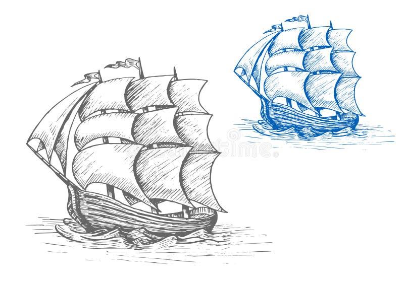 Vieux bateau de navigation dans les vagues orageuses illustration de vecteur