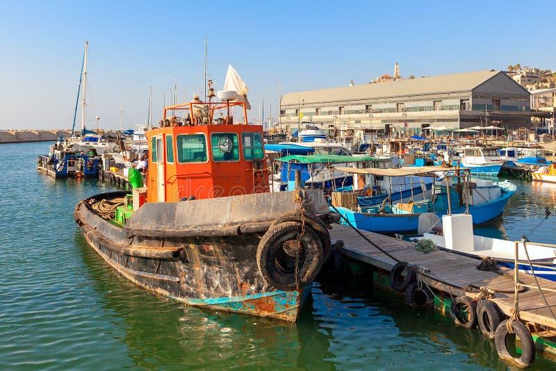 Vieux bateau de pêcheur dans Jaffa, Israël image stock