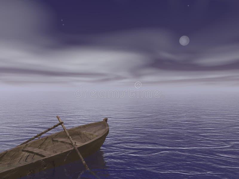 Vieux bateau en bois par nuit - 3d rendent illustration de vecteur