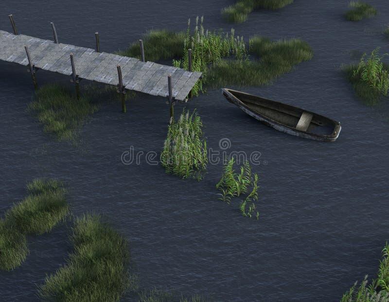 Vieux bateau se reposant le long du lac illustration libre de droits