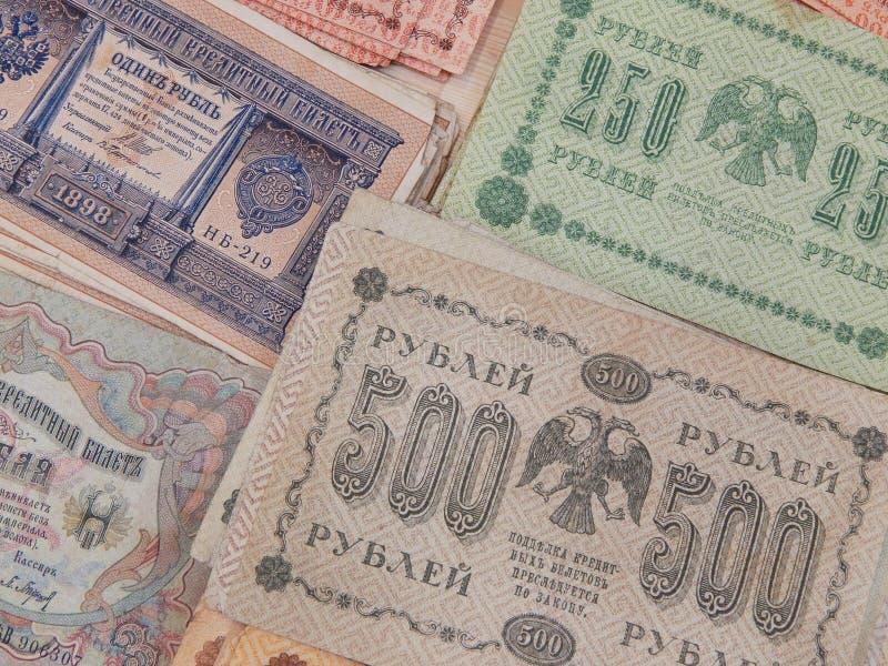 Vieux billets de banque de l'empire russe comme fond images libres de droits