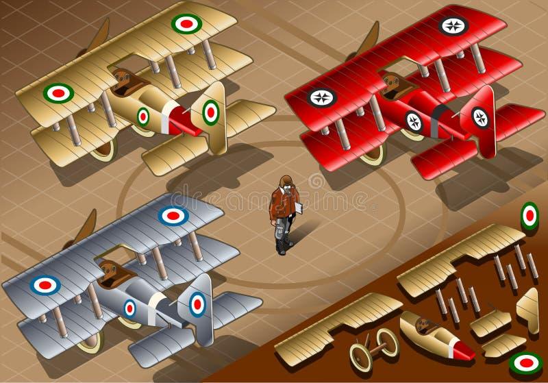 Vieux biplans isométriques de vintage dans la vue arrière illustration stock