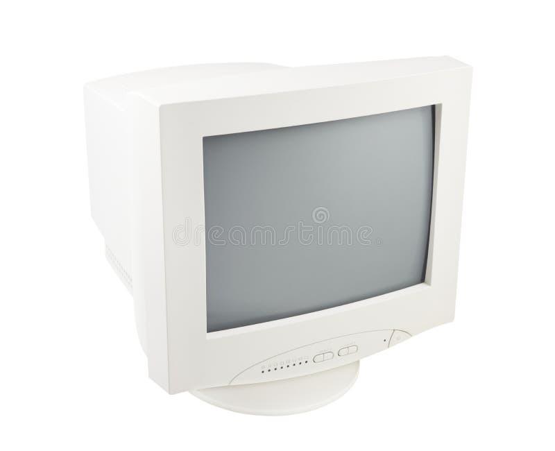 Vieux blanc d'isolement d'écran de moniteur de tube cathodique de PC images libres de droits