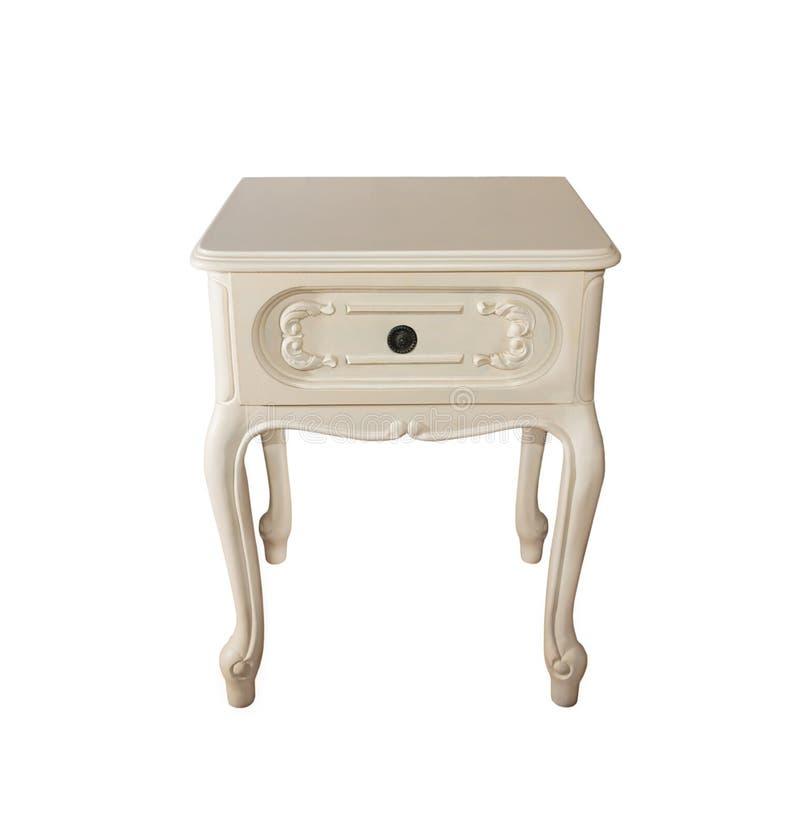 Vieux blanc en bois découpé en bois de table de chevet images libres de droits