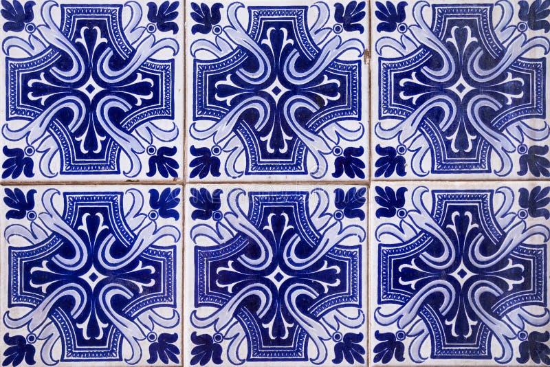 Vieux bleu du Portugal de mur de tuile image stock