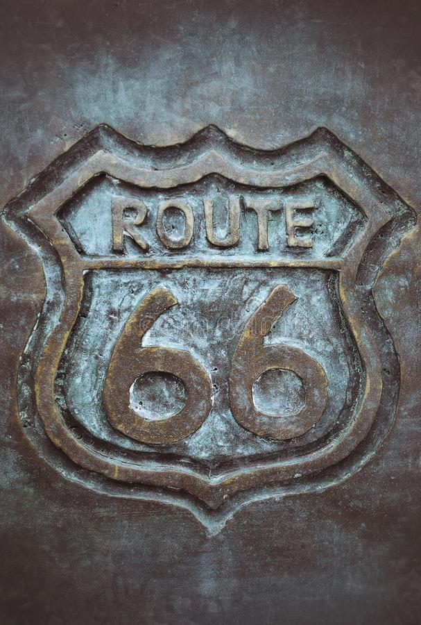 Vieux bronze de connexion de l'itinéraire 66 photo stock