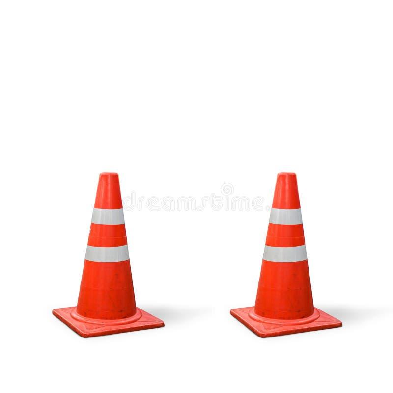 Vieux cônes du trafic sur le fond blanc photos libres de droits
