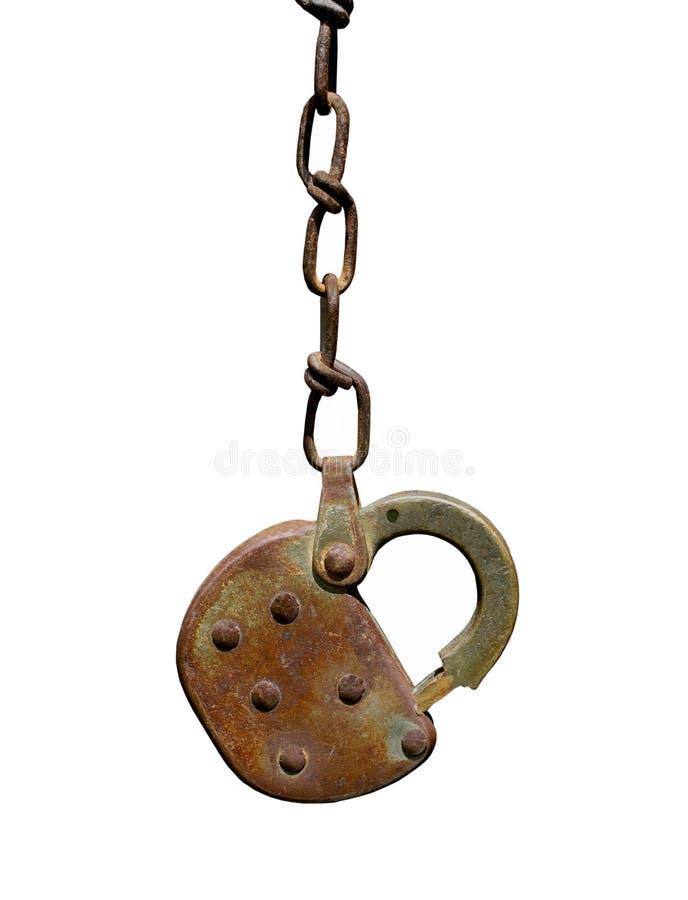 Vieux cadenas et réseau rouillés d'isolement photos stock