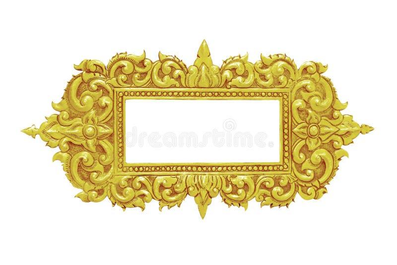 Vieux cadre décoratif d'or - fait main, gravé - d'isolement sur le whi photographie stock libre de droits