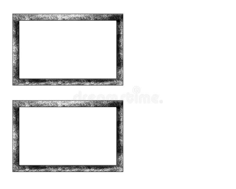 Vieux cadre d'isolement sur le fond blanc Vue d'isolement sur le fond blanc illustration libre de droits