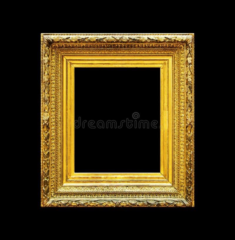 Vieux cadre de luxe d'or d'isolement sur le noir image libre de droits