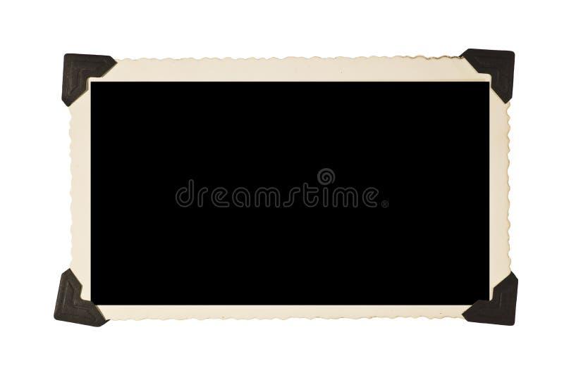 Vieux cadre de tableau rectangulaire avec des coins de photo image stock