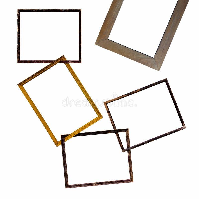 Vieux cadre en bois d'isolat ensemble photos stock