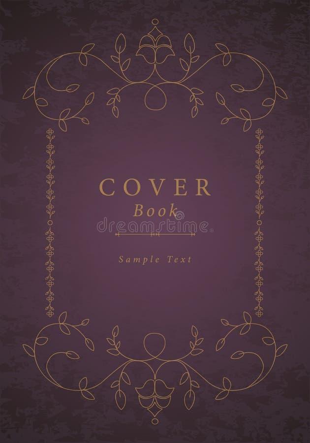 Vieux cadre ornemental Livre antique de couverture illustration stock