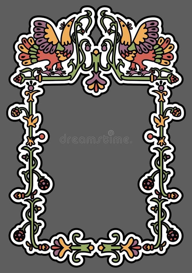 Vieux cadre ornemental russe illustration de vecteur