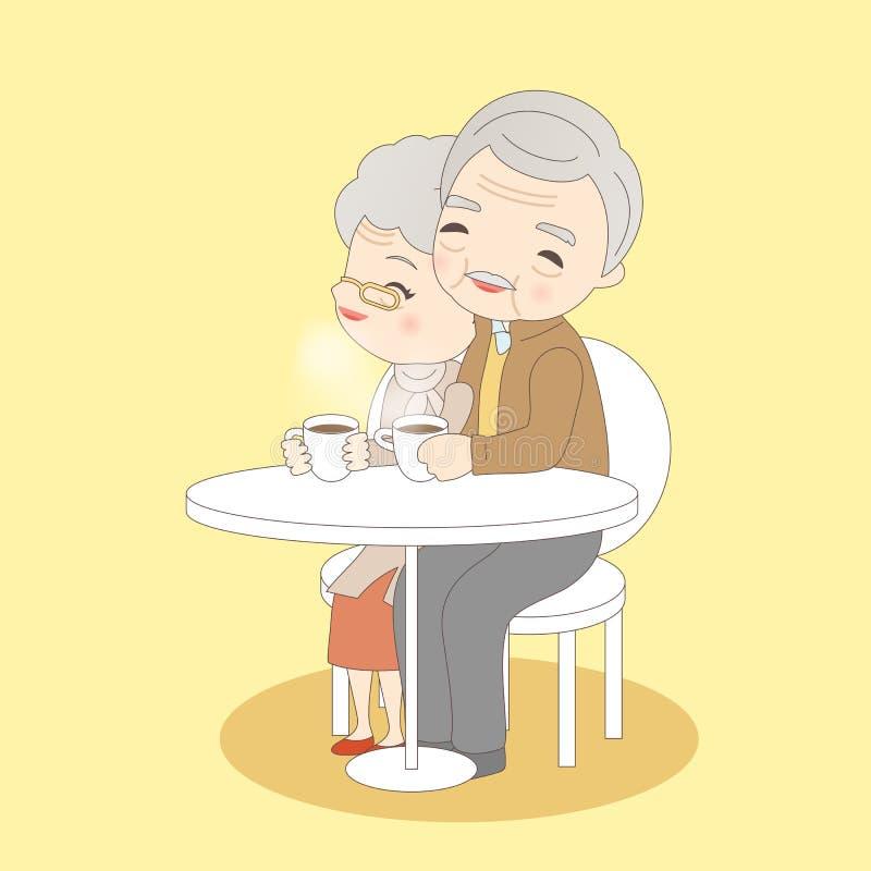 Vieux café de boissons de couples illustration de vecteur