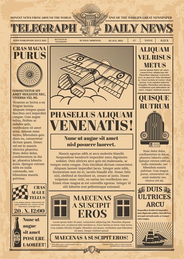 Vieux calibre de vecteur de journal Rétro papier journal avec le texte et les images illustration libre de droits