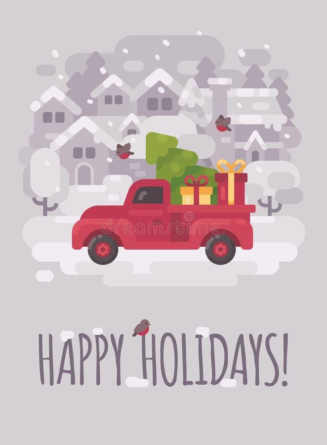 Vieux camion rouge de ferme avec un arbre et des présents de Noël illustration stock