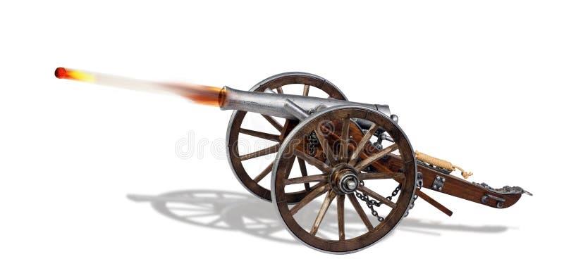 Vieux canon dans l'action image stock