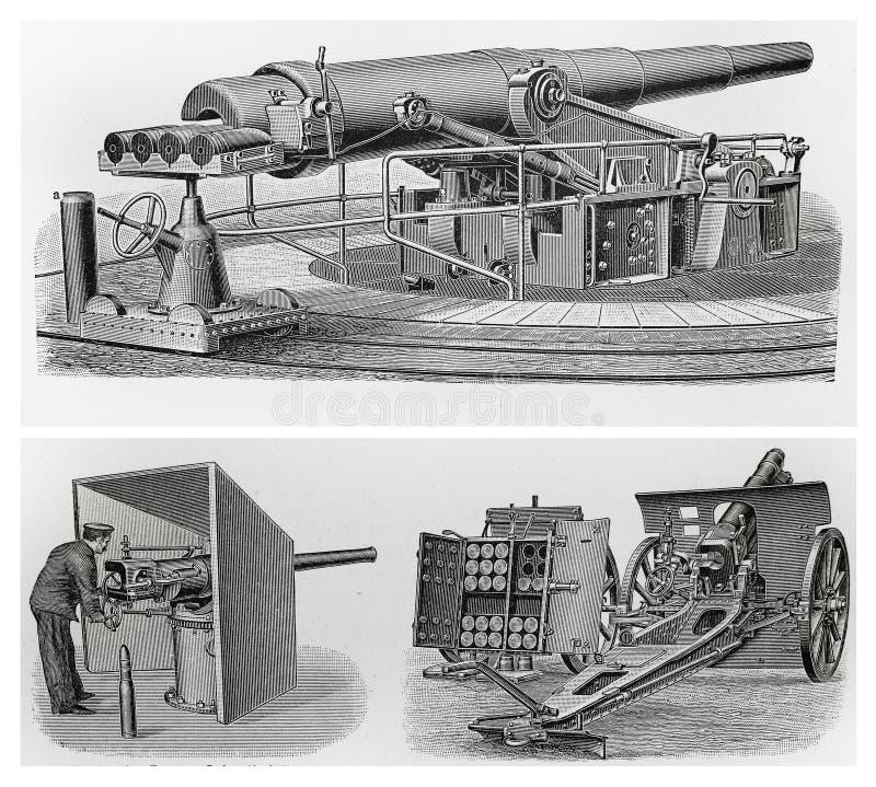 Vieux canons de cru illustration de vecteur