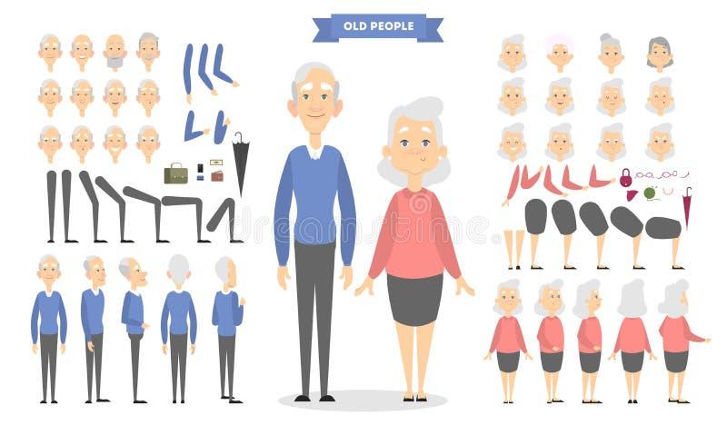 Vieux caractères de couples réglés illustration de vecteur