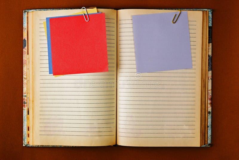 Vieux carnet avec la conception souillée de pages image libre de droits