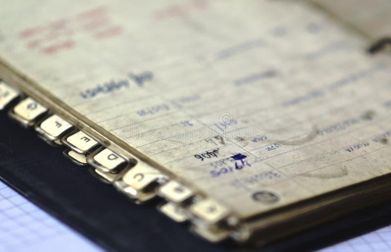 Vieux carnet d'adresses photographie stock libre de droits