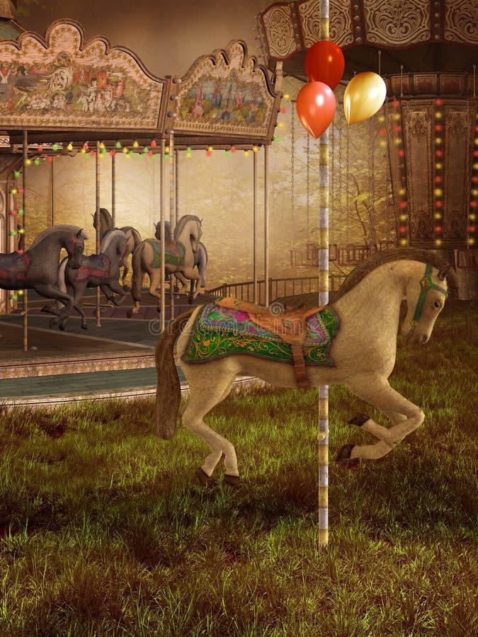 Vieux carrousel victorien illustration de vecteur