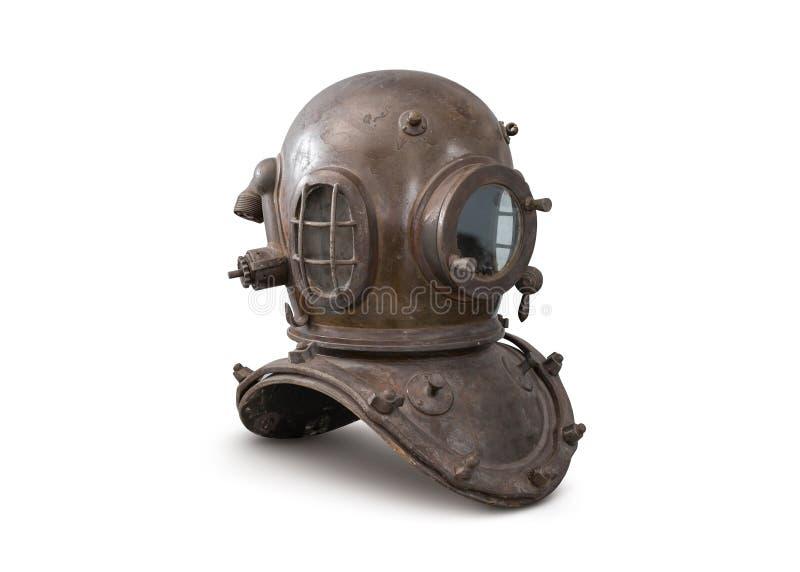 Vieux casque en métal de plongée de mer profonde d'isolement sur le fond blanc photos libres de droits