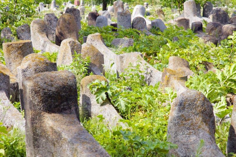 Vieux cementery juif dans Berdychiv, Ukraine image libre de droits