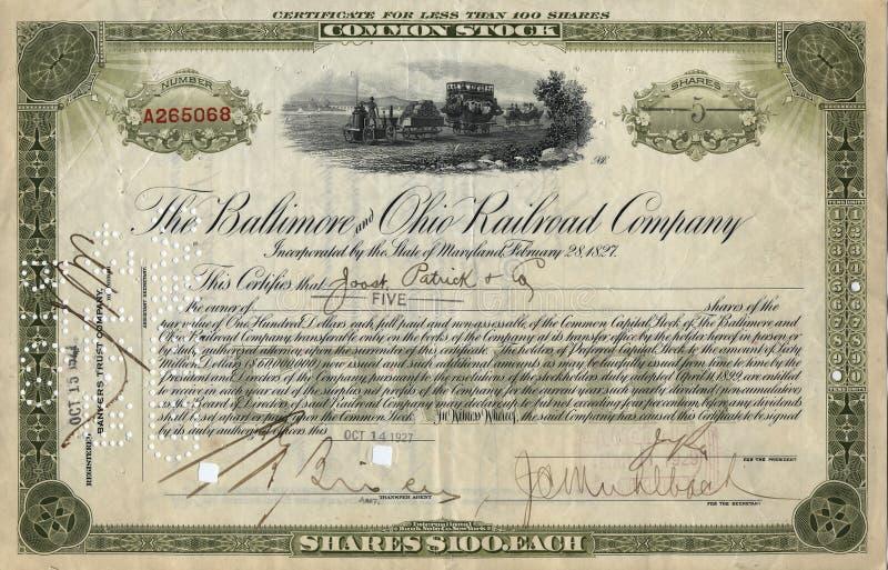 Vieux certificat d'actions 3