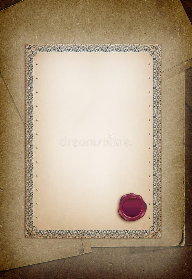 Vieux certificat de papier et fleur sauvage sèche Frontière ornementale et gaufrette illustration de vecteur