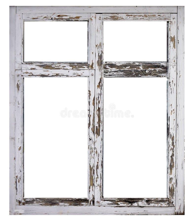 Vieux châssis de fenêtre en bois blanc d'isolement sur le fond blanc photographie stock libre de droits