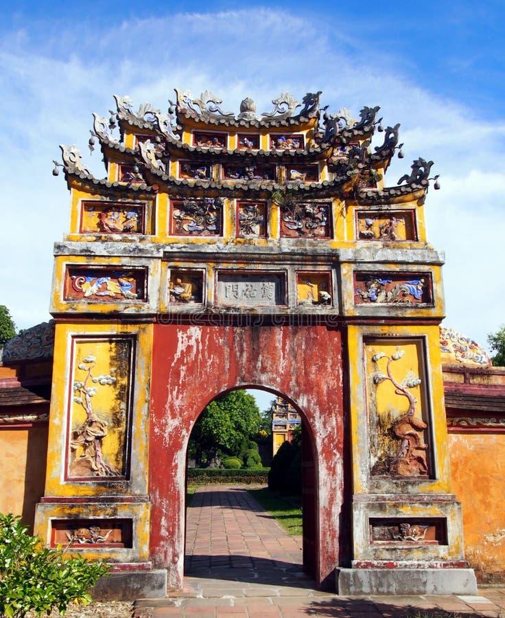 Vieux château de ville impériale en Hue Vietnam photographie stock