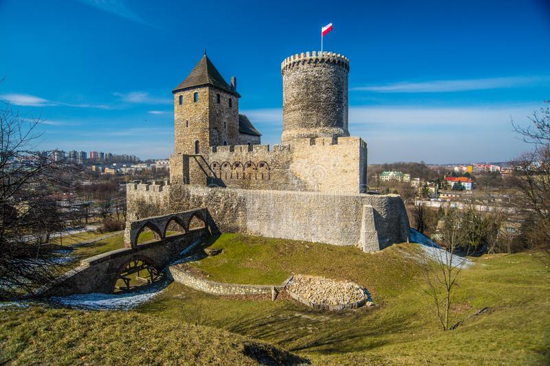 Vieux château gothique dans la ville de BÄ™dzin image stock